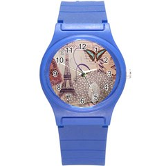 White Peacock Paris Eiffel Tower Vintage Bird Butterfly French Botanical Art Plastic Sport Watch (small)