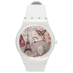 White Peacock Paris Eiffel Tower Vintage Bird Butterfly French Botanical Art Plastic Sport Watch (Medium)