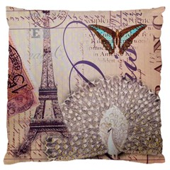 White Peacock Paris Eiffel Tower Vintage Bird Butterfly French Botanical Art Large Cushion Case (Two Sided)