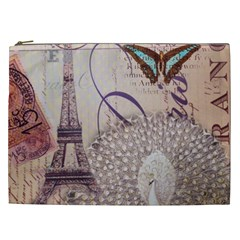 White Peacock Paris Eiffel Tower Vintage Bird Butterfly French Botanical Art Cosmetic Bag (XXL)