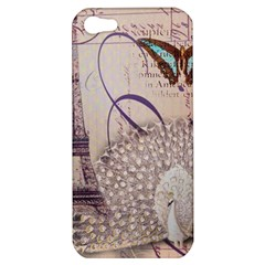 White Peacock Paris Eiffel Tower Vintage Bird Butterfly French Botanical Art Apple Iphone 5 Hardshell Case
