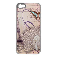White Peacock Paris Eiffel Tower Vintage Bird Butterfly French Botanical Art Apple iPhone 5 Case (Silver)