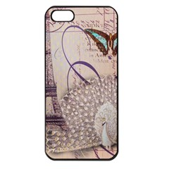 White Peacock Paris Eiffel Tower Vintage Bird Butterfly French Botanical Art Apple iPhone 5 Seamless Case (Black)