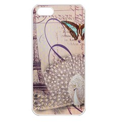White Peacock Paris Eiffel Tower Vintage Bird Butterfly French Botanical Art Apple iPhone 5 Seamless Case (White)