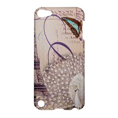 White Peacock Paris Eiffel Tower Vintage Bird Butterfly French Botanical Art Apple iPod Touch 5 Hardshell Case