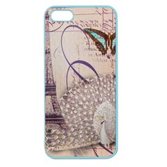 White Peacock Paris Eiffel Tower Vintage Bird Butterfly French Botanical Art Apple Seamless iPhone 5 Case (Color)
