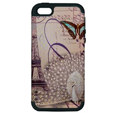 White Peacock Paris Eiffel Tower Vintage Bird Butterfly French Botanical Art Apple Iphone 5 Hardshell Case (pc+silicone)