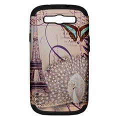 White Peacock Paris Eiffel Tower Vintage Bird Butterfly French Botanical Art Samsung Galaxy S III Hardshell Case (PC+Silicone)