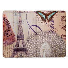 White Peacock Paris Eiffel Tower Vintage Bird Butterfly French Botanical Art Kindle Fire Flip Case