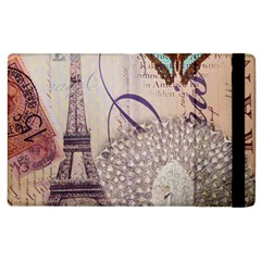 White Peacock Paris Eiffel Tower Vintage Bird Butterfly French Botanical Art Apple Ipad 3/4 Flip Case