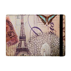 White Peacock Paris Eiffel Tower Vintage Bird Butterfly French Botanical Art Apple Ipad Mini Flip Case