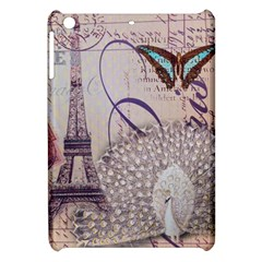 White Peacock Paris Eiffel Tower Vintage Bird Butterfly French Botanical Art Apple iPad Mini Hardshell Case