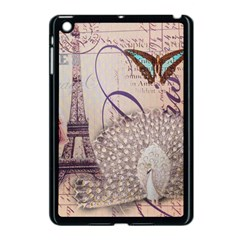 White Peacock Paris Eiffel Tower Vintage Bird Butterfly French Botanical Art Apple iPad Mini Case (Black)
