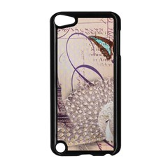 White Peacock Paris Eiffel Tower Vintage Bird Butterfly French Botanical Art Apple iPod Touch 5 Case (Black)