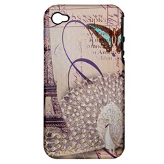 White Peacock Paris Eiffel Tower Vintage Bird Butterfly French Botanical Art Apple iPhone 4/4S Hardshell Case (PC+Silicone)