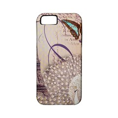 White Peacock Paris Eiffel Tower Vintage Bird Butterfly French Botanical Art Apple iPhone 5 Classic Hardshell Case (PC+Silicone)