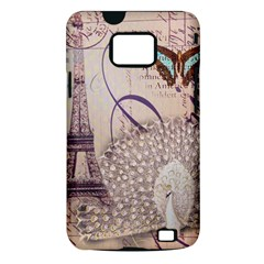 White Peacock Paris Eiffel Tower Vintage Bird Butterfly French Botanical Art Samsung Galaxy S II Hardshell Case (PC+Silicone)