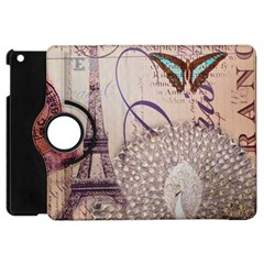 White Peacock Paris Eiffel Tower Vintage Bird Butterfly French Botanical Art Apple Ipad Mini Flip 360 Case