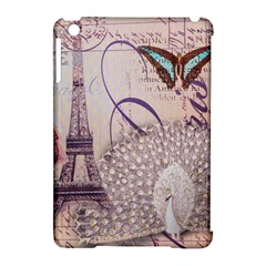 White Peacock Paris Eiffel Tower Vintage Bird Butterfly French Botanical Art Apple iPad Mini Hardshell Case (Compatible with Smart Cover)