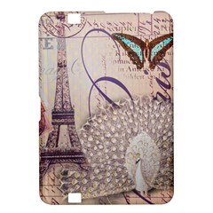 White Peacock Paris Eiffel Tower Vintage Bird Butterfly French Botanical Art Kindle Fire HD 8.9  Hardshell Case