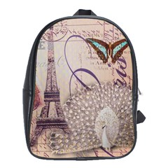 White Peacock Paris Eiffel Tower Vintage Bird Butterfly French Botanical Art School Bag (xl)