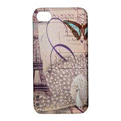 White Peacock Paris Eiffel Tower Vintage Bird Butterfly French Botanical Art Apple iPhone 4/4S Hardshell Case with Stand