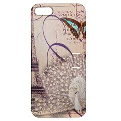 White Peacock Paris Eiffel Tower Vintage Bird Butterfly French Botanical Art Apple iPhone 5 Hardshell Case with Stand