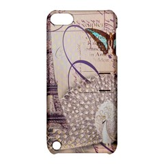 White Peacock Paris Eiffel Tower Vintage Bird Butterfly French Botanical Art Apple iPod Touch 5 Hardshell Case with Stand