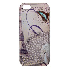 White Peacock Paris Eiffel Tower Vintage Bird Butterfly French Botanical Art iPhone 5 Premium Hardshell Case