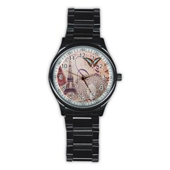 White Peacock Paris Eiffel Tower Vintage Bird Butterfly French Botanical Art Sport Metal Watch (black)