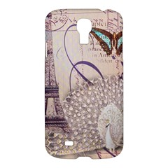White Peacock Paris Eiffel Tower Vintage Bird Butterfly French Botanical Art Samsung Galaxy S4 I9500/I9505 Hardshell Case