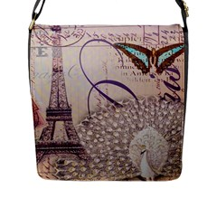 White Peacock Paris Eiffel Tower Vintage Bird Butterfly French Botanical Art Flap Closure Messenger Bag (Large)