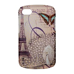 White Peacock Paris Eiffel Tower Vintage Bird Butterfly French Botanical Art Blackberry Q10 Hardshell Case