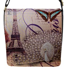 White Peacock Paris Eiffel Tower Vintage Bird Butterfly French Botanical Art Removable Flap Cover (small)