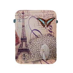 White Peacock Paris Eiffel Tower Vintage Bird Butterfly French Botanical Art Apple iPad 2/3/4 Protective Soft Case