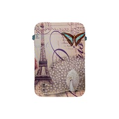 White Peacock Paris Eiffel Tower Vintage Bird Butterfly French Botanical Art Apple iPad Mini Protective Soft Case