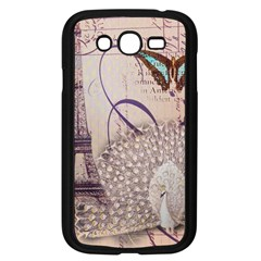 White Peacock Paris Eiffel Tower Vintage Bird Butterfly French Botanical Art Samsung I9082(Galaxy Grand DUOS)(Black)