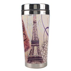 White Peacock Paris Eiffel Tower Vintage Bird Butterfly French Botanical Art Stainless Steel Travel Tumbler
