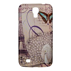 White Peacock Paris Eiffel Tower Vintage Bird Butterfly French Botanical Art Samsung Galaxy Mega 6.3  I9200