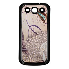 White Peacock Paris Eiffel Tower Vintage Bird Butterfly French Botanical Art Samsung Galaxy S3 Back Case (black)