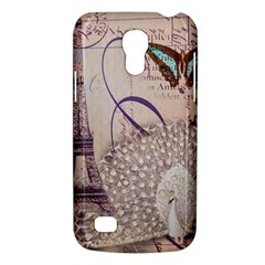 White Peacock Paris Eiffel Tower Vintage Bird Butterfly French Botanical Art Samsung Galaxy S4 Mini Hardshell Case