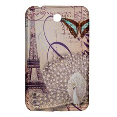 White Peacock Paris Eiffel Tower Vintage Bird Butterfly French Botanical Art Samsung Galaxy Tab 3 (7 ) P3200 Hardshell Case