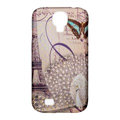 White Peacock Paris Eiffel Tower Vintage Bird Butterfly French Botanical Art Samsung Galaxy S4 Classic Hardshell Case (PC+Silicone)