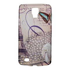 White Peacock Paris Eiffel Tower Vintage Bird Butterfly French Botanical Art Samsung Galaxy S4 Active (i9295) Hardshell Case