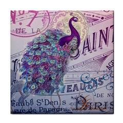 French Scripts  Purple Peacock Floral Paris Decor Ceramic Tile