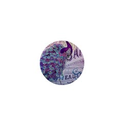 French Scripts  Purple Peacock Floral Paris Decor 1  Mini Button