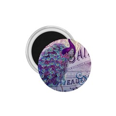 French Scripts  Purple Peacock Floral Paris Decor 1 75  Button Magnet