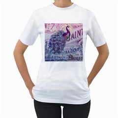 French Scripts  Purple Peacock Floral Paris Decor Womens  T-shirt (White)