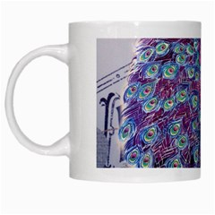 French Scripts  Purple Peacock Floral Paris Decor White Coffee Mug