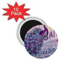 French Scripts  Purple Peacock Floral Paris Decor 1 75  Button Magnet (10 Pack)